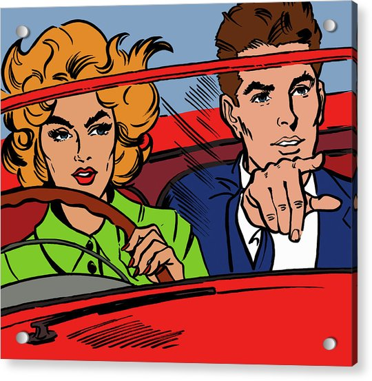 Close Up Of Couple Driving Red Acrylic Print