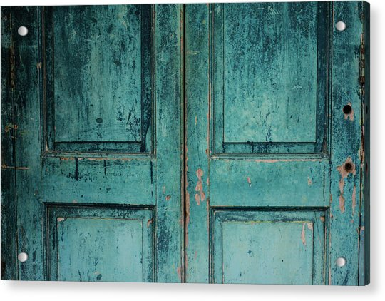 Closeup Of Blue Turquoise Old Textured Acrylic Print by Sean Idielic
