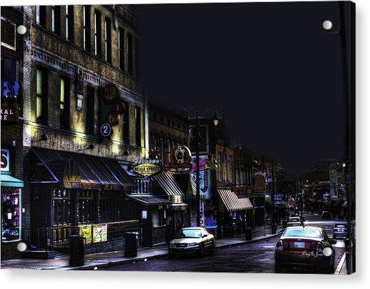 Memphis - Night - Closing Time On Beale Street Acrylic Print