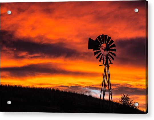 Cobblestone Windmill At Sunset Acrylic Print