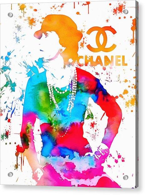 Coco Chanel Paint Splatter Acrylic Print