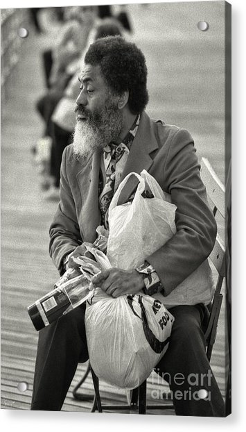 Collecting Bottles On The Boardwalk Acrylic Print
