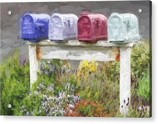 Colorful Mailboxes And Flowers Painterly Effect Acrylic Print