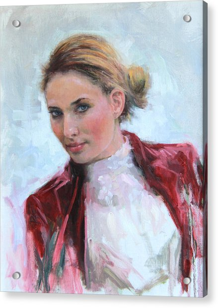 Acrylic Print featuring the painting Come A Little Closer Young Woman Portrait by Talya Johnson