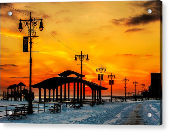 Acrylic Print featuring the photograph Coney Island Winter Sunset by Chris Lord
