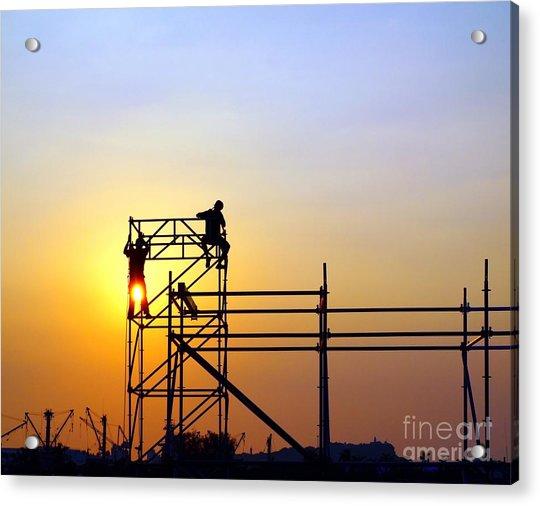 Construction Workers On A Scaffold Acrylic Print