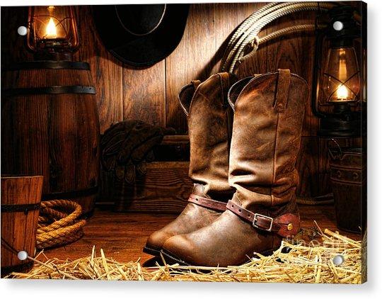Cowboy Boots In A Ranch Barn Acrylic Print