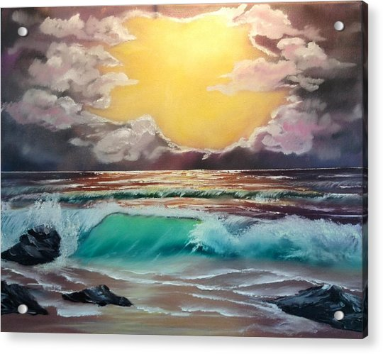 Crashing Wave At Sunrise Acrylic Print