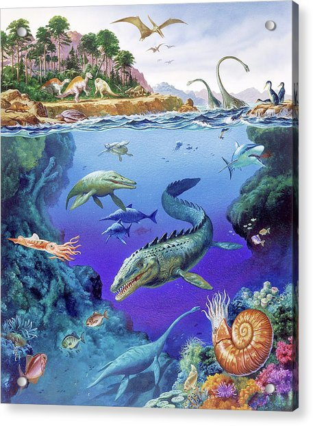 Cretaceous Period Fauna Acrylic Print by Christian Jegou Publiphoto Diffusion/ Science Photo Library