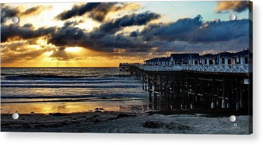 Crystal Pier Sunset Pb Acrylic Print