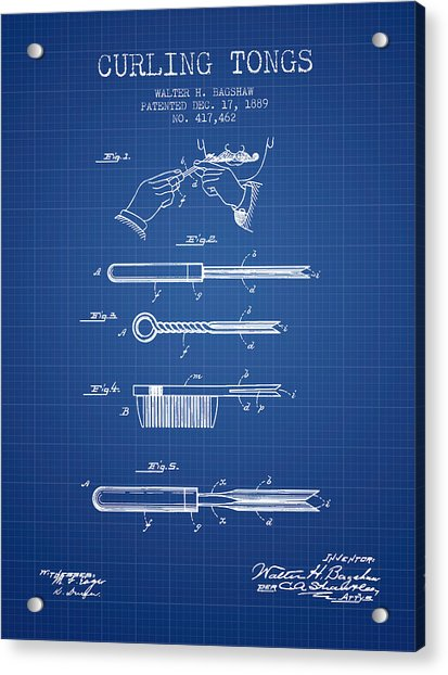 Curling Tongs Patent From 1889 - Blueprint Acrylic Print