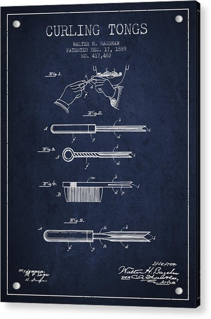 Curling Tongs Patent From 1889 - Navy Blue Acrylic Print