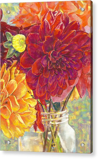 Dahlias In A Canning Jar Acrylic Print