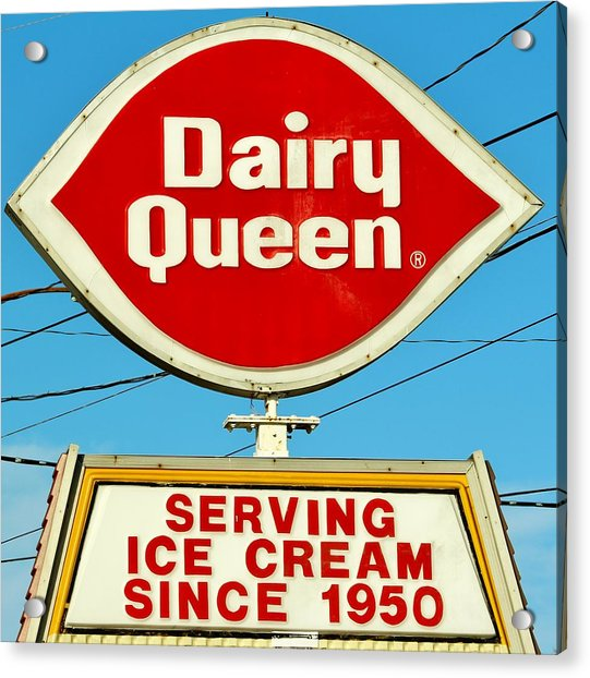 Acrylic Print featuring the photograph Dairy Queen Sign by Cynthia Guinn