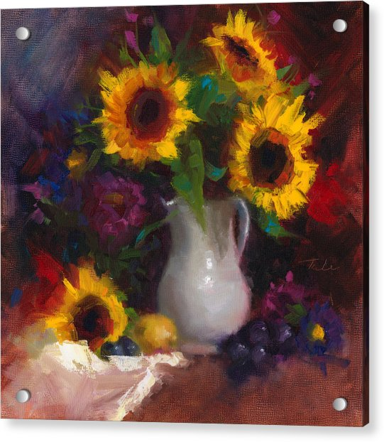 Acrylic Print featuring the painting Dance With Me - Sunflower Still Life by Talya Johnson