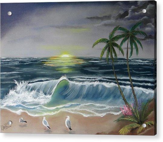 Dark Skies On The Beach Acrylic Print