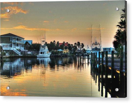 Dawn On A Orange Beach Canal Acrylic Print