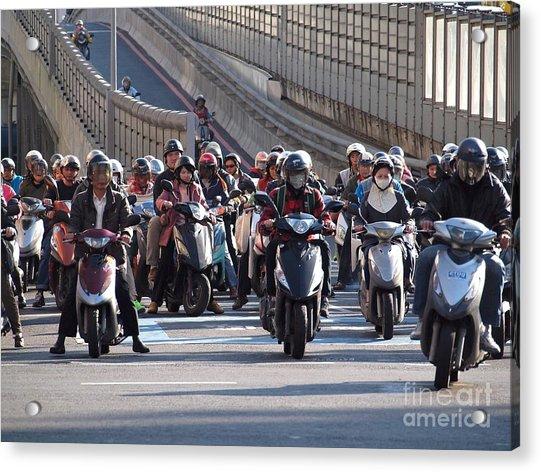 Dense Scooter Traffic In Taiwan Acrylic Print