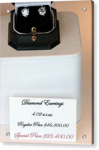 Diamond Earrings On Sale Acrylic Print