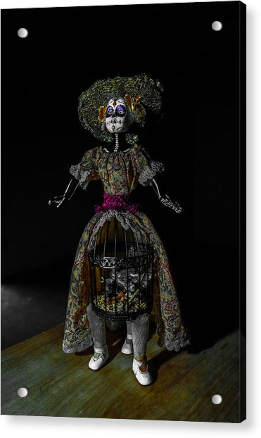 Doll With Dead Bird In New Orleans Acrylic Print