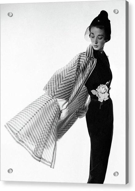 Dorian Leigh Wearing A Bonnie Cashin Dress Acrylic Print