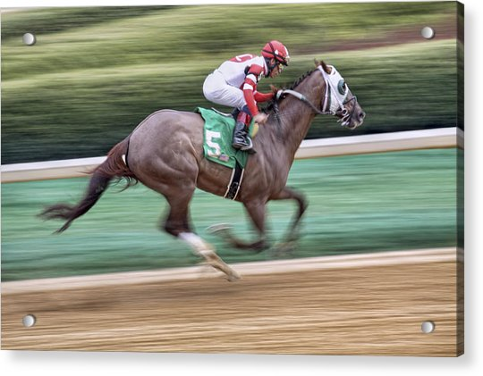 Acrylic Print featuring the photograph Down The Stretch - Horse Racing - Jockey by Jason Politte