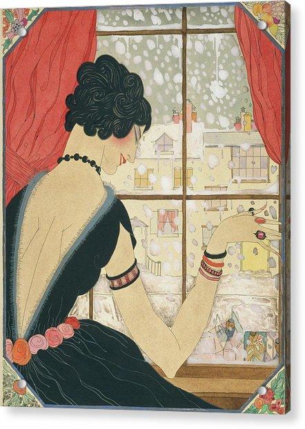 Drawing Of A Woman Waving At A Friend Acrylic Print