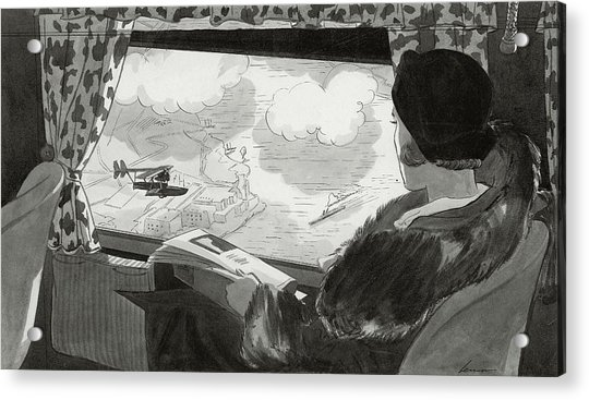 Drawing Of Female Passenger Flying Over Havana Acrylic Print