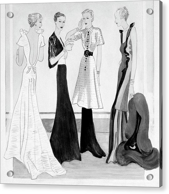 Drawing Of Four Well-dressed Women Acrylic Print