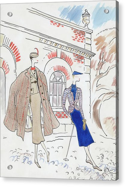Drawing Of Two Women In Tweed Outfits Acrylic Print