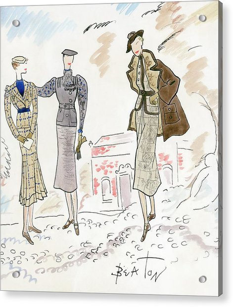 Drawing Of Women In Stylish Designer Outfits Acrylic Print