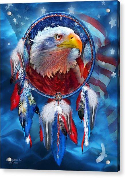 Dream Catcher - Eagle Red White Blue Acrylic Print