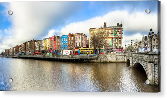 Dublin River Liffey Panorama Acrylic Print