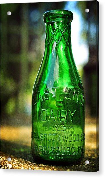 East End Dairy Green Milk Bottle Acrylic Print