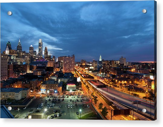 Elevated View Of Philadelphia Skyline Acrylic Print