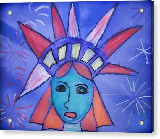 Acrylic Print featuring the digital art Emma's Lady Liberty by Alice Gipson