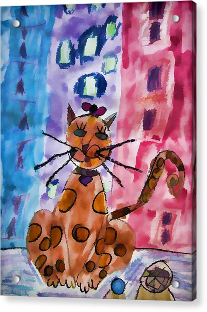 Acrylic Print featuring the digital art Emma's Spotted Kitty by Alice Gipson