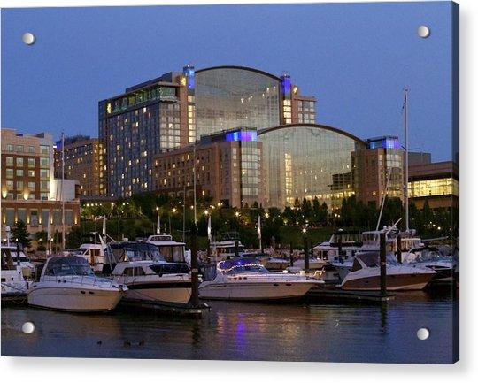 Evening At Washington National Harbor Acrylic Print