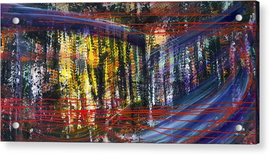 Evening Pond By A Road Acrylic Print