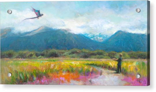 Acrylic Print featuring the painting Face Off - Boy Facing His Dragon Kite by Talya Johnson