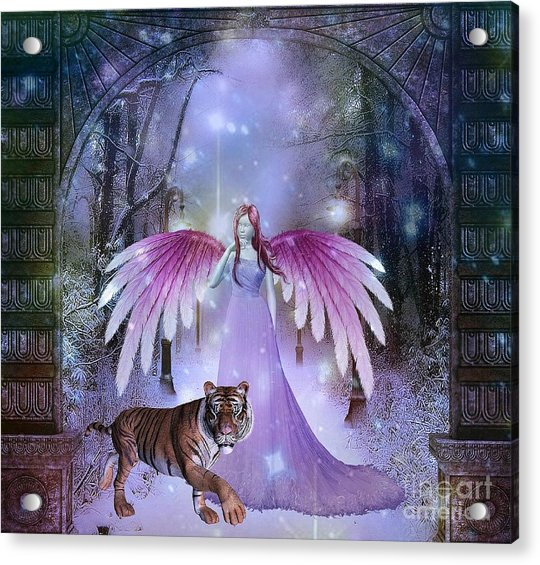 Fairy And Tiger Acrylic Print