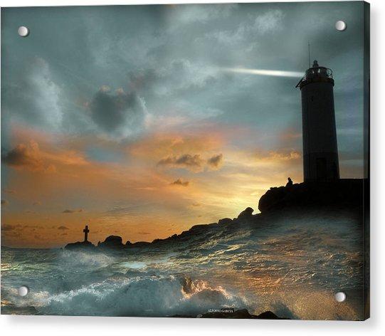 Faro En Mar Bravo Acrylic Print
