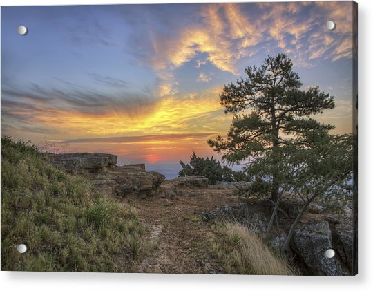 Acrylic Print featuring the photograph Fiery Sunrise From Atop Mt. Nebo - Arkansas by Jason Politte