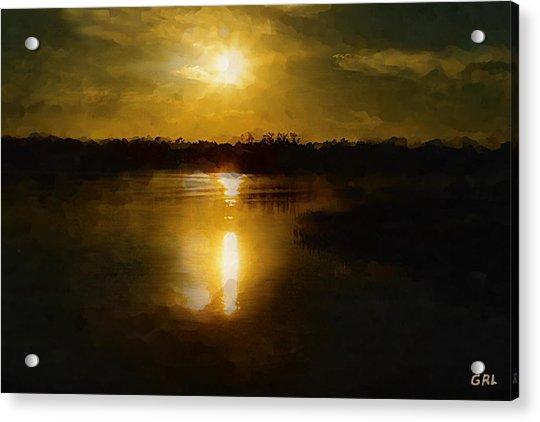 Fine Art Digital Painting Sunset Weeki Wachee Florida Acrylic Print