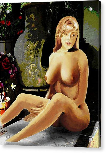 Fine Art Female Nude Jess Sitting On The Patio Acrylic Print