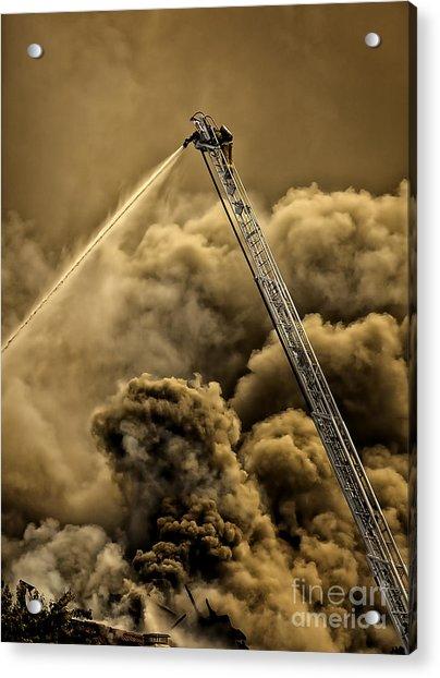 Firefighter-heat Of The Battle Acrylic Print