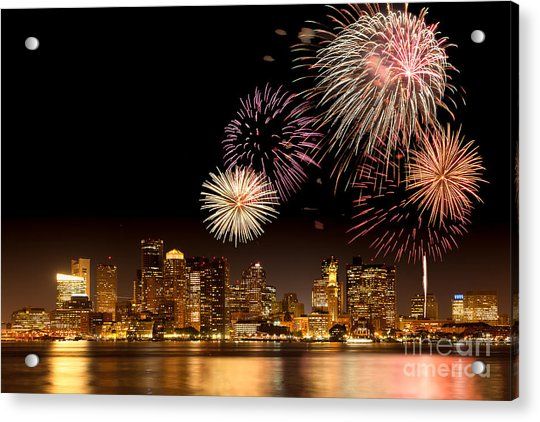 Fireworks Over Boston Harbor Acrylic Print