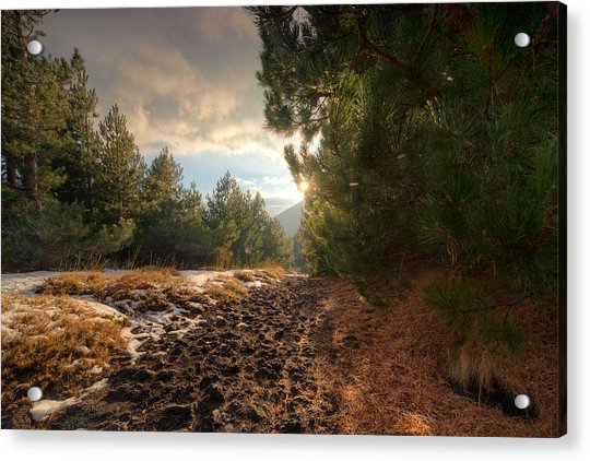 Acrylic Print featuring the photograph First Snow On Mount Etna by Mirko Chessari