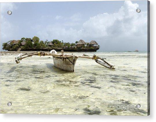 Fishing Boat In Zanzibar Acrylic Print by Pier Giorgio Mariani