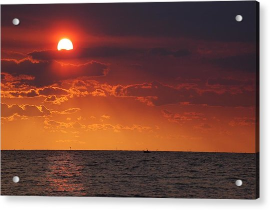 Fishing Till The Sun Goes Down Acrylic Print